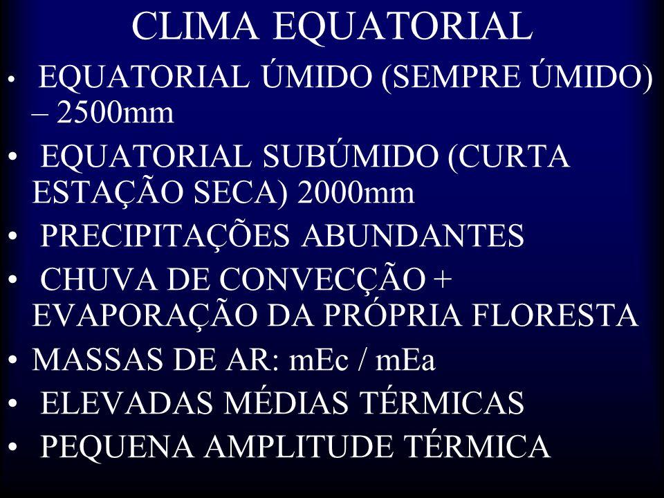 CLIMA EQUATORIAL EQUATORIAL ÚMIDO (SEMPRE ÚMIDO) – 2500mm EQUATORIAL SUBÚMIDO (CURTA ESTAÇÃO SECA) 2000mm PRECIPITAÇÕES ABUNDANTES CHUVA DE CONVECÇÃO