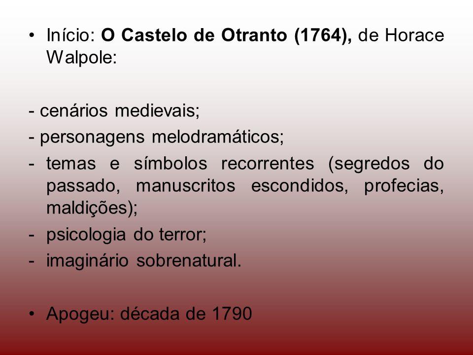 Início: O Castelo de Otranto (1764), de Horace Walpole: - cenários medievais; - personagens melodramáticos; -temas e símbolos recorrentes (segredos do passado, manuscritos escondidos, profecias, maldições); -psicologia do terror; -imaginário sobrenatural.