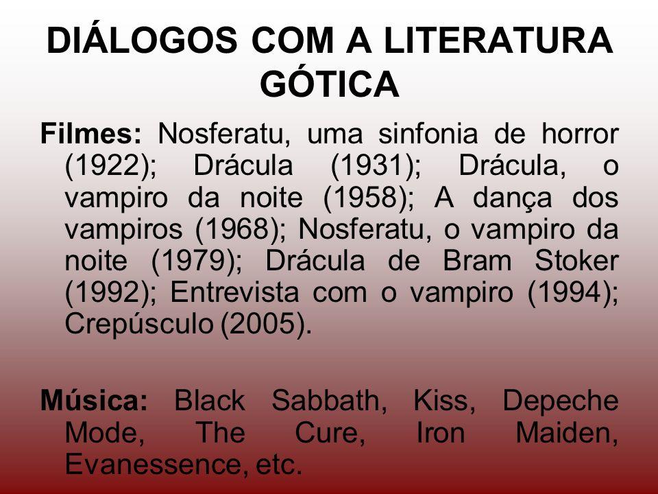 DIÁLOGOS COM A LITERATURA GÓTICA Filmes: Nosferatu, uma sinfonia de horror (1922); Drácula (1931); Drácula, o vampiro da noite (1958); A dança dos vampiros (1968); Nosferatu, o vampiro da noite (1979); Drácula de Bram Stoker (1992); Entrevista com o vampiro (1994); Crepúsculo (2005).
