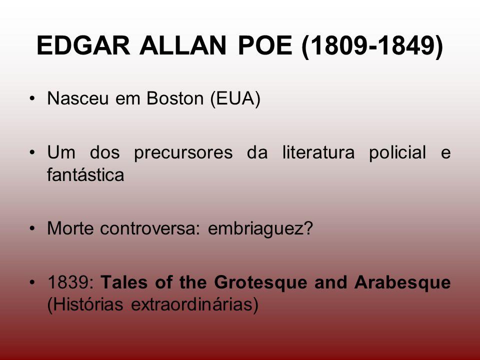 EDGAR ALLAN POE (1809-1849) Nasceu em Boston (EUA) Um dos precursores da literatura policial e fantástica Morte controversa: embriaguez.