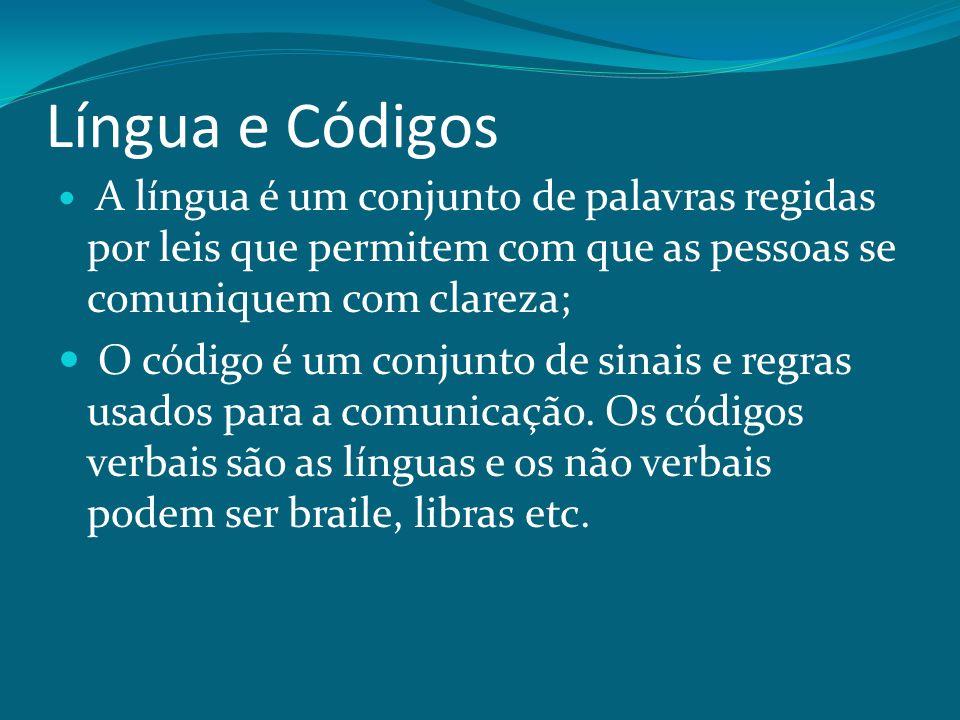Língua e Códigos A língua é um conjunto de palavras regidas por leis que permitem com que as pessoas se comuniquem com clareza; O código é um conjunto