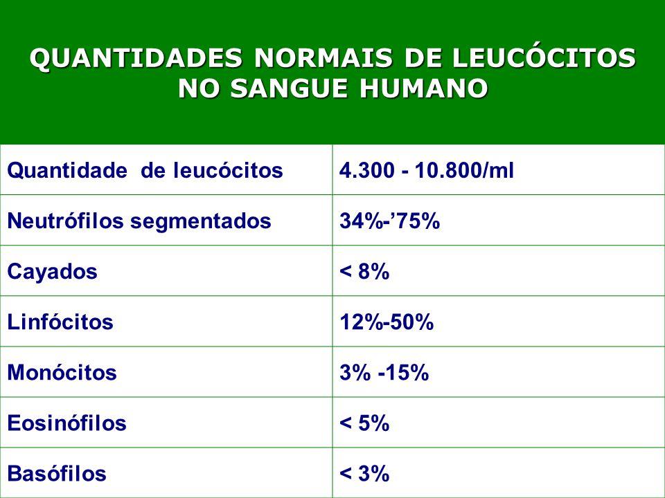 QUANTIDADES NORMAIS DE LEUCÓCITOS NO SANGUE HUMANO Quantidade de leucócitos4.300 - 10.800/ml Neutrófilos segmentados34%-75% Cayados< 8% Linfócitos12%-