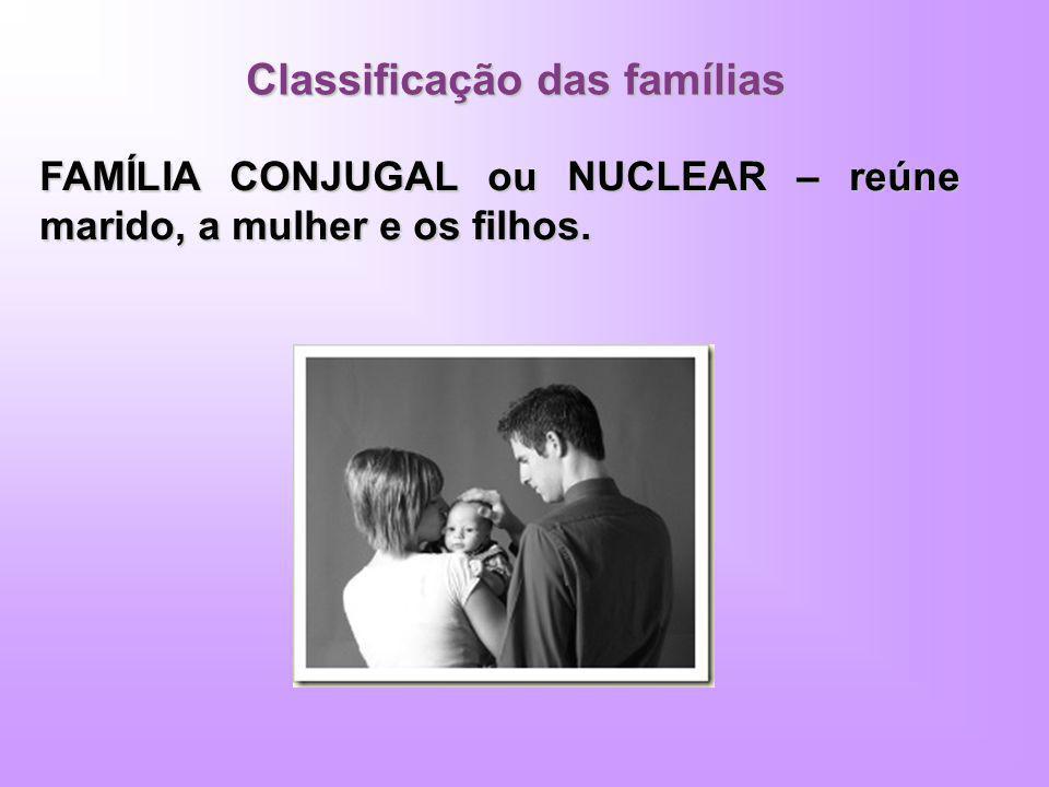 Classificação das famílias FAMÍLIA CONJUGAL ou NUCLEAR – reúne marido, a mulher e os filhos.