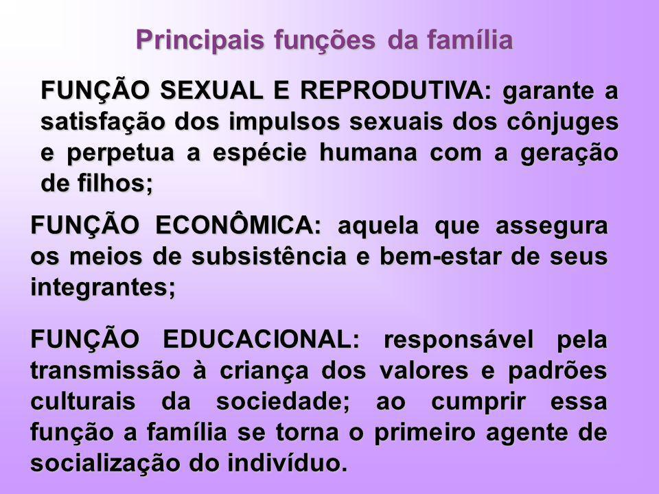 Principais funções da família FUNÇÃO SEXUAL E REPRODUTIVA: garante a satisfação dos impulsos sexuais dos cônjuges e perpetua a espécie humana com a ge