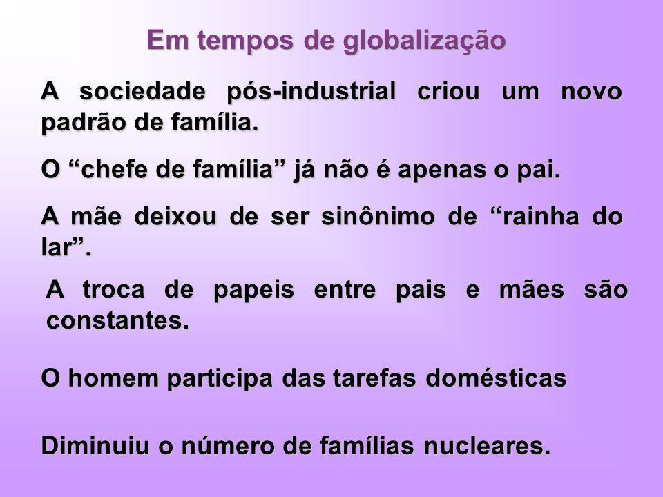 Em tempos de globalização A sociedade pós-industrial criou um novo padrão de família. O chefe de família já não é apenas o pai. A mãe deixou de ser si