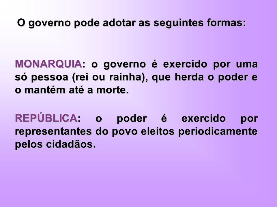 O governo pode adotar as seguintes formas: MONARQUIA: o governo é exercido por uma só pessoa (rei ou rainha), que herda o poder e o mantém até a morte