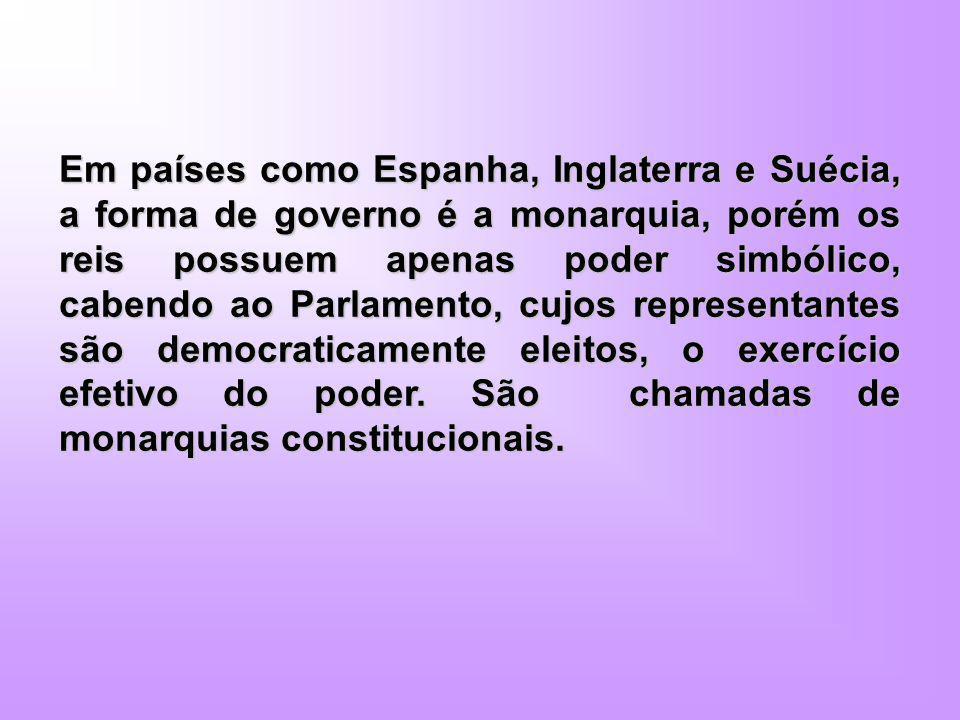 Em países como Espanha, Inglaterra e Suécia, a forma de governo é a monarquia, porém os reis possuem apenas poder simbólico, cabendo ao Parlamento, cu
