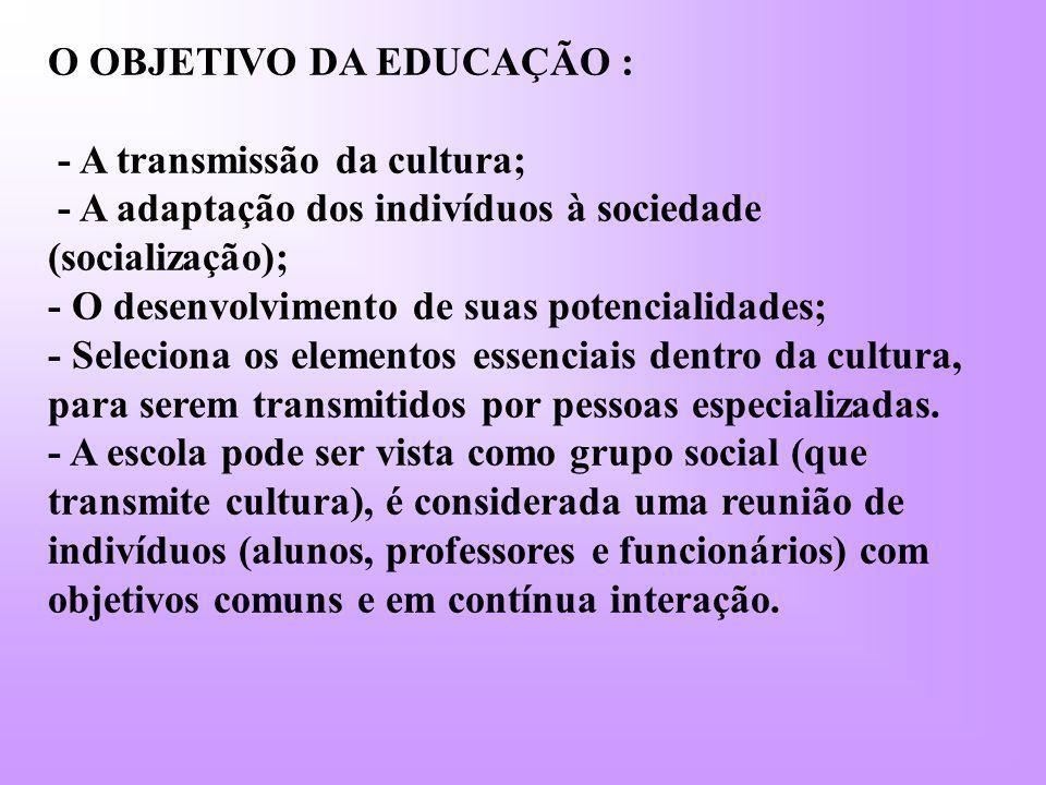 O OBJETIVO DA EDUCAÇÃO : - A transmissão da cultura; - A adaptação dos indivíduos à sociedade (socialização); - O desenvolvimento de suas potencialida