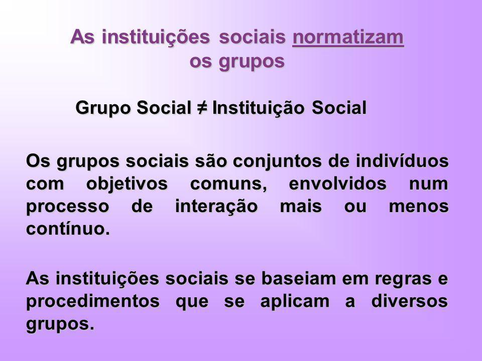 As instituições sociais normatizam os grupos Grupo Social Instituição Social Os grupos sociais são conjuntos de indivíduos com objetivos comuns, envol