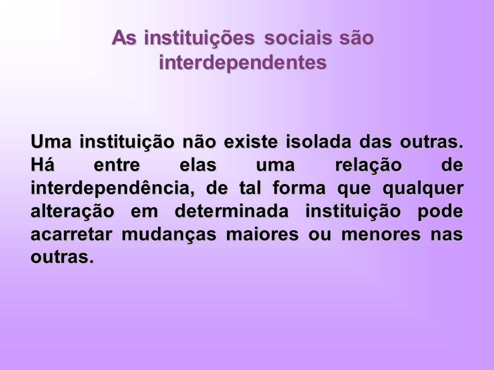 As instituições sociais são interdependentes Uma instituição não existe isolada das outras. Há entre elas uma relação de interdependência, de tal form