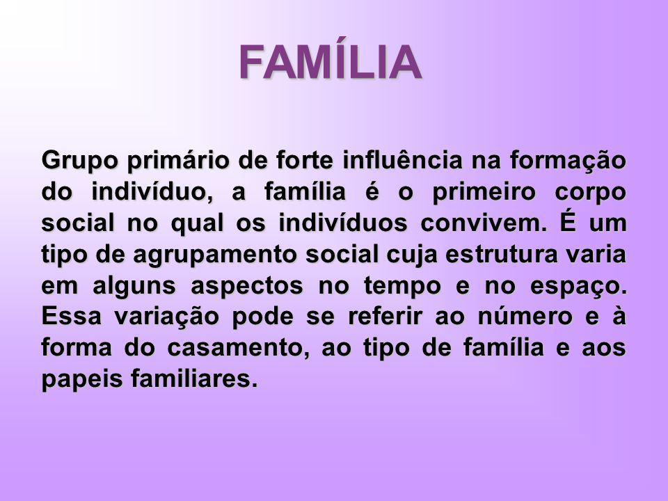 FAMÍLIA Grupo primário de forte influência na formação do indivíduo, a família é o primeiro corpo social no qual os indivíduos convivem. É um tipo de