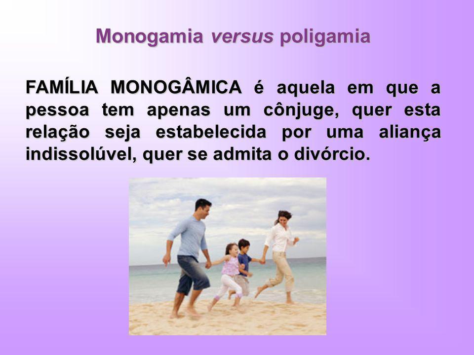 Monogamia versus poligamia FAMÍLIA MONOGÂMICA é aquela em que a pessoa tem apenas um cônjuge, quer esta relação seja estabelecida por uma aliança indi