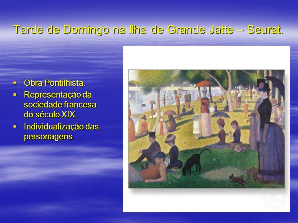 Tarde de Domingo na Ilha de Grande Jatte – Seurat. Obra Pontilhista. Obra Pontilhista. Representação da sociedade francesa do século XIX. Representaçã
