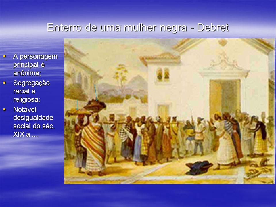 Enterro de uma mulher negra - Debret A personagem principal é anônima; A personagem principal é anônima; Segregação racial e religiosa; Segregação rac