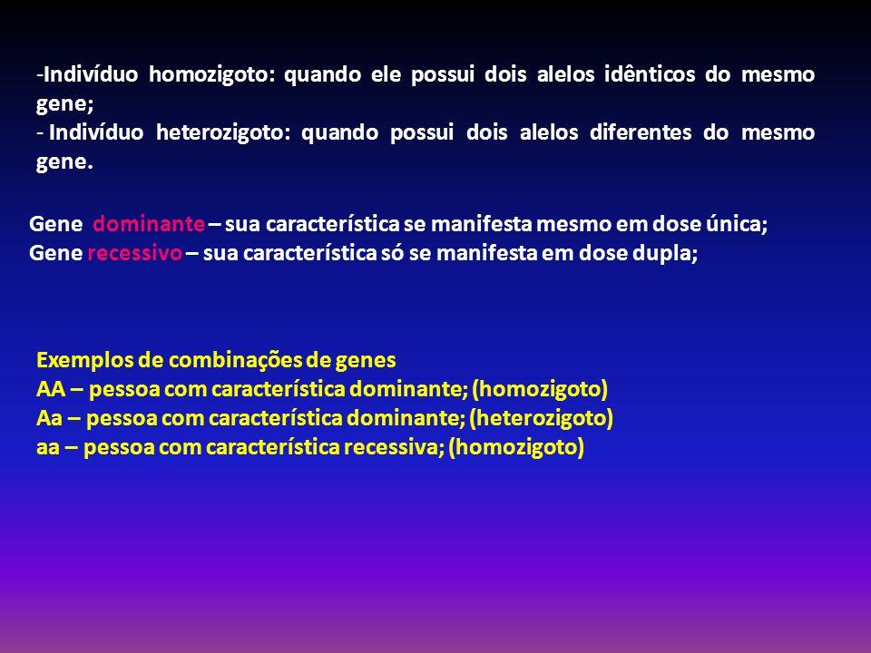 Exemplos de combinações de genes AA – pessoa com característica dominante; (homozigoto) Aa – pessoa com característica dominante; (heterozigoto) aa –
