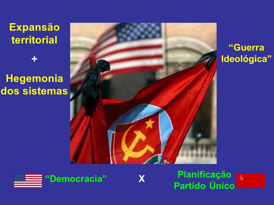 Expansão territorial + Hegemonia dos sistemas Guerra Ideológica Democracia Planificação Partido Único X