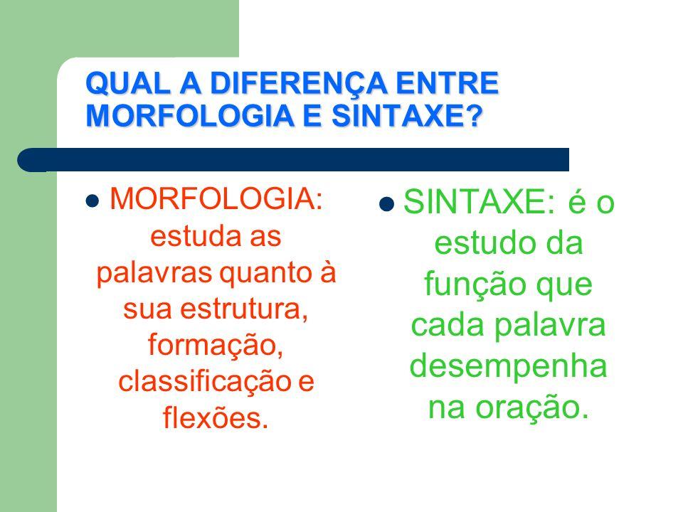 QUAL A DIFERENÇA ENTRE MORFOLOGIA E SINTAXE.