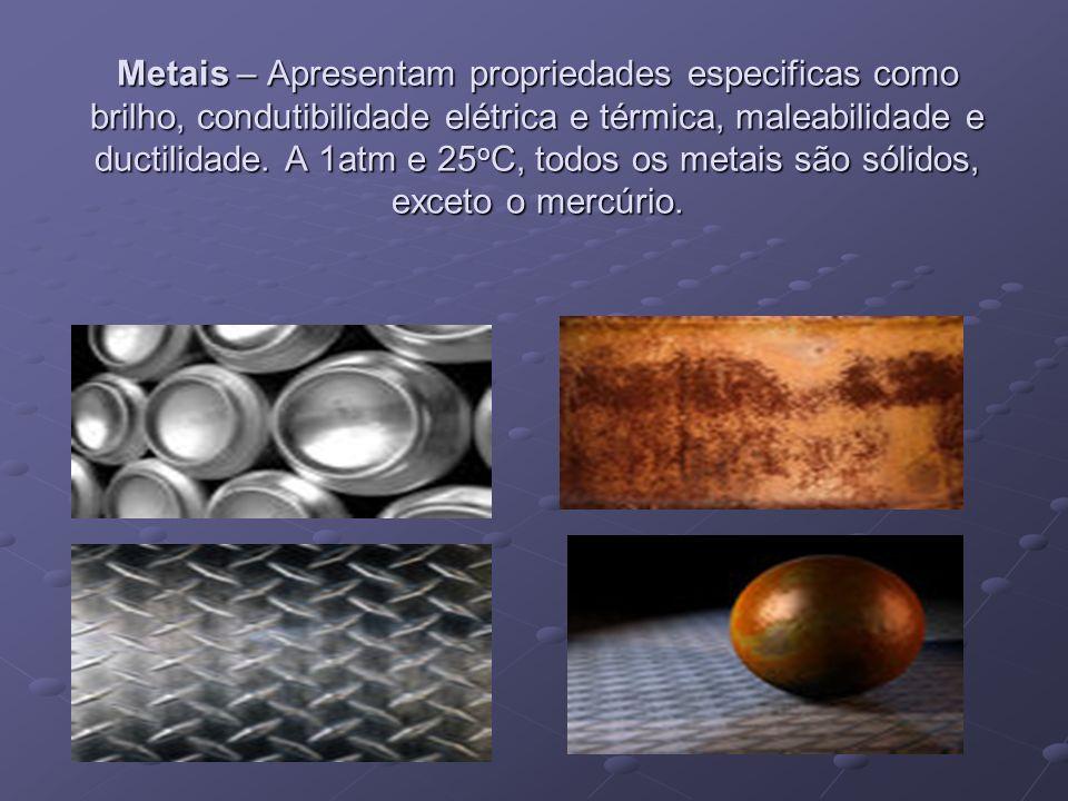 Metais – Apresentam propriedades especificas como brilho, condutibilidade elétrica e térmica, maleabilidade e ductilidade. A 1atm e 25 o C, todos os m