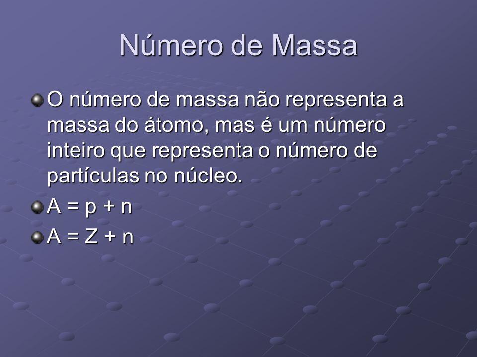 Número de Massa O número de massa não representa a massa do átomo, mas é um número inteiro que representa o número de partículas no núcleo. A = p + n