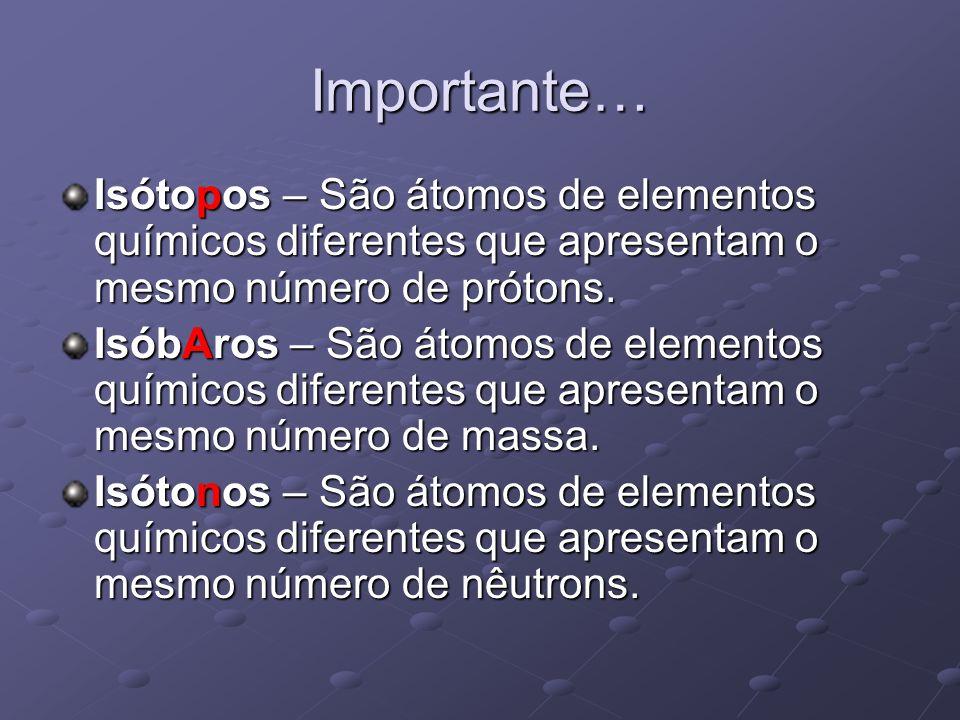 Importante… Isótopos – São átomos de elementos químicos diferentes que apresentam o mesmo número de prótons. IsóbAros – São átomos de elementos químic