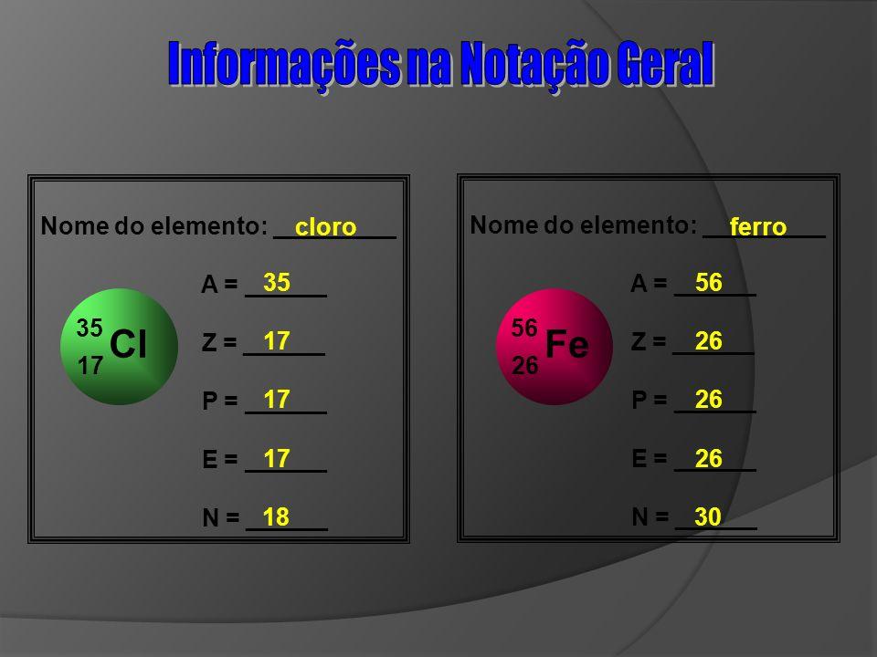 Cl 17 35 Nome do elemento: _________ A = ______ Z = ______ P = ______ E = ______ N = ______ cloro 35 17 18 Fe 26 56 Nome do elemento: _________ A = __
