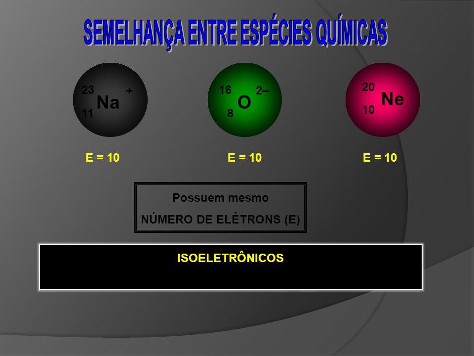 Na 11 23 + O 8 16 2– Ne 10 20 E = 10 Possuem mesmo NÚMERO DE ELÉTRONS (E) ISOELETRÔNICOS são espécies químicas que possuem mesmo número de elétrons