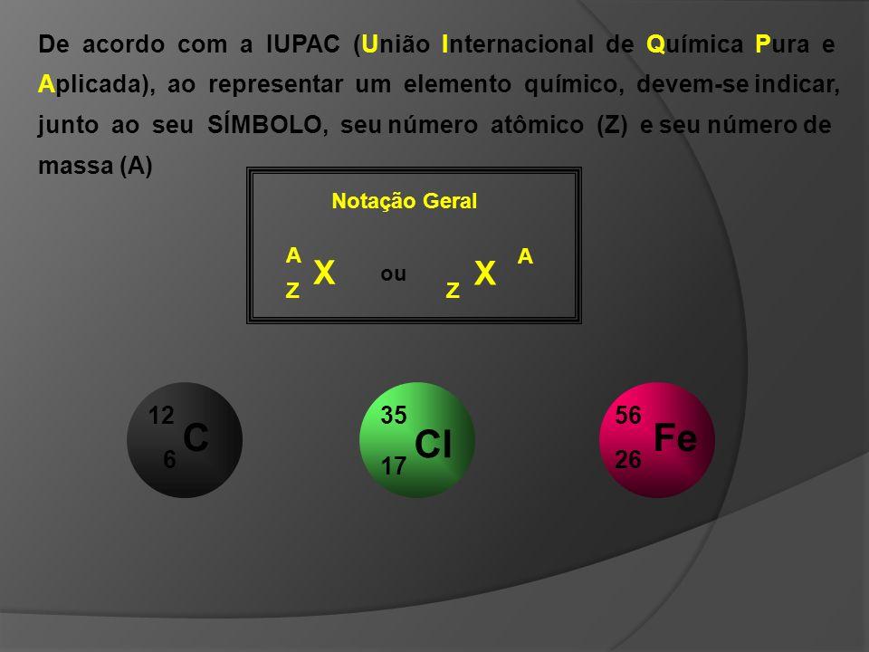 Cl 17 35 Nome do elemento: _________ A = ______ Z = ______ P = ______ E = ______ N = ______ cloro 35 17 18 Fe 26 56 Nome do elemento: _________ A = ______ Z = ______ P = ______ E = ______ N = ______ ferro 56 26 30