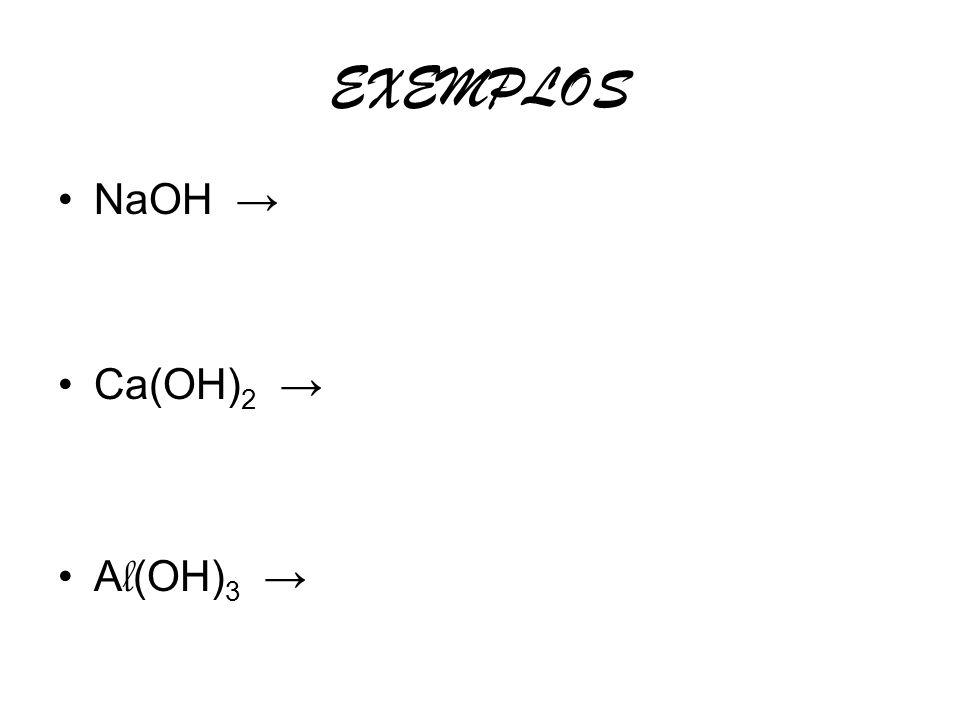 EXEMPLOS NaOH Ca(OH) 2 A l (OH) 3