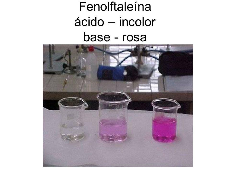 Fenolftaleína ácido – incolor base - rosa