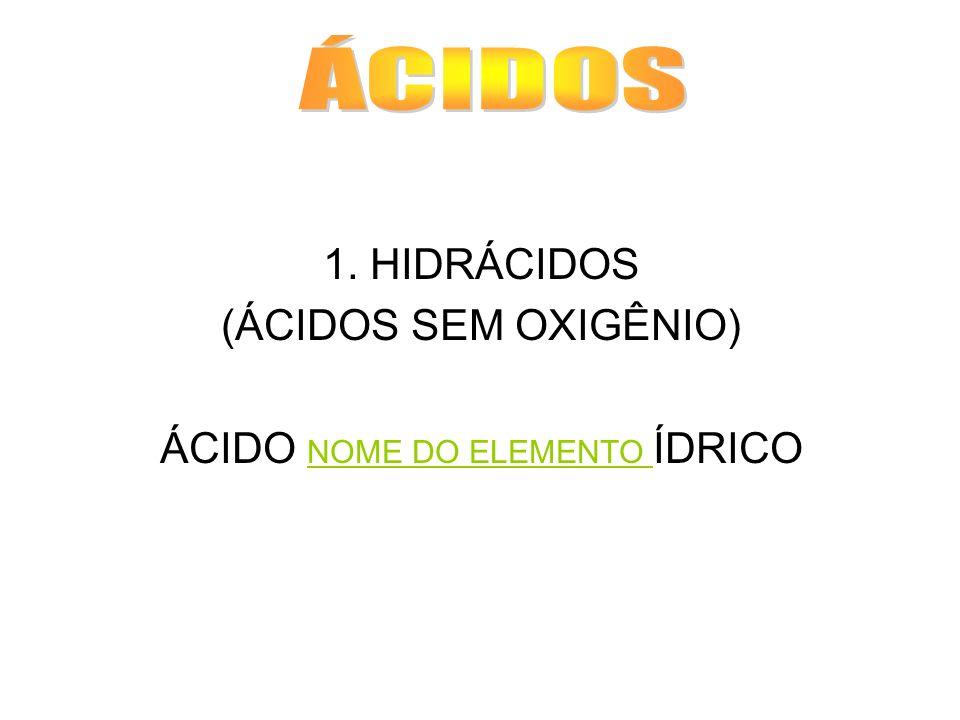 1. HIDRÁCIDOS (ÁCIDOS SEM OXIGÊNIO) ÁCIDO NOME DO ELEMENTO ÍDRICO