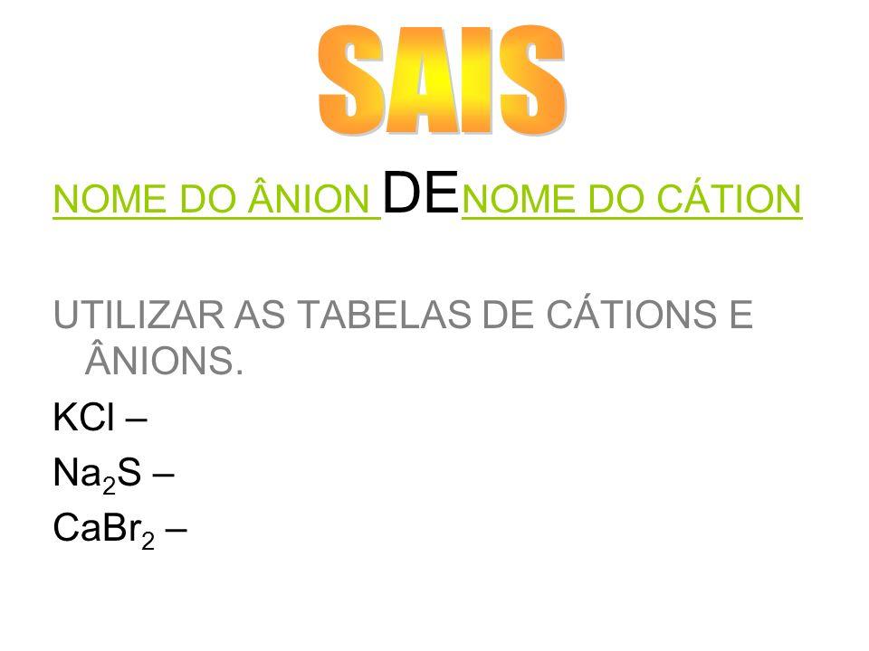 NOME DO ÂNION DE NOME DO CÁTION UTILIZAR AS TABELAS DE CÁTIONS E ÂNIONS. KCl – Na 2 S – CaBr 2 –