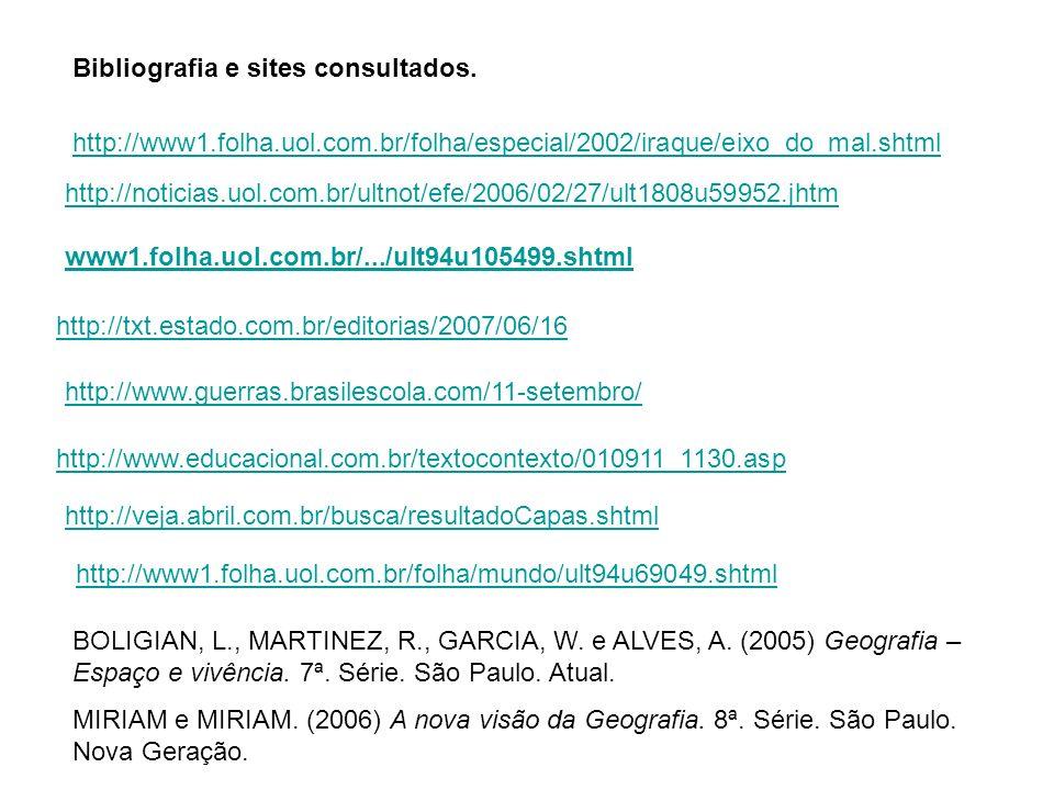 http://noticias.uol.com.br/ultnot/efe/2006/02/27/ult1808u59952.jhtm www1.folha.uol.com.br/.../ult94u105499.shtml http://txt.estado.com.br/editorias/2007/06/16 http://www.guerras.brasilescola.com/11-setembro/ http://www.educacional.com.br/textocontexto/010911_1130.asp http://www1.folha.uol.com.br/folha/especial/2002/iraque/eixo_do_mal.shtml http://veja.abril.com.br/busca/resultadoCapas.shtml BOLIGIAN, L., MARTINEZ, R., GARCIA, W.