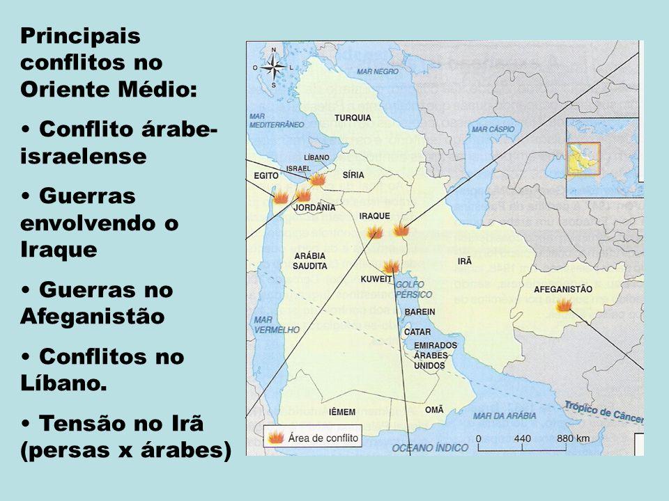 Principais conflitos no Oriente Médio: Conflito árabe- israelense Guerras envolvendo o Iraque Guerras no Afeganistão Conflitos no Líbano.