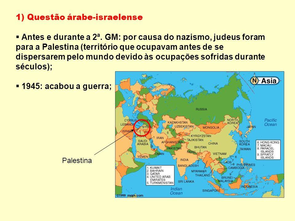 1) Questão árabe-israelense Antes e durante a 2ª.