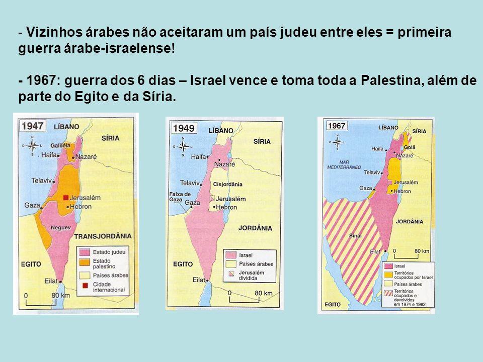 - Vizinhos árabes não aceitaram um país judeu entre eles = primeira guerra árabe-israelense.