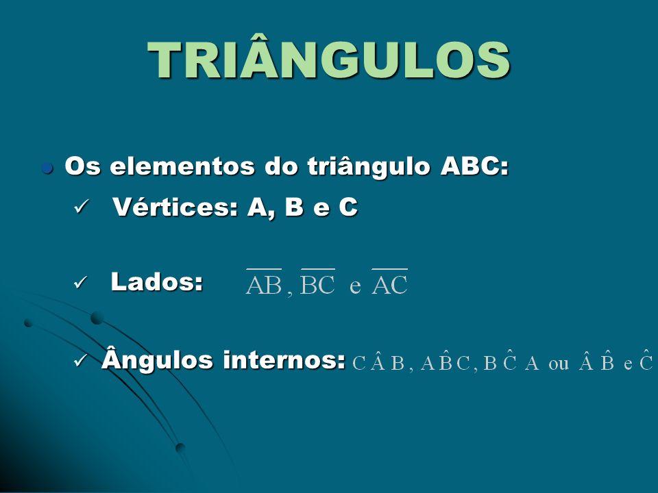TRIÂNGULOS Os elementos do triângulo ABC: Os elementos do triângulo ABC: Vértices: A, B e C Vértices: A, B e C Lados: Lados: Ângulos internos: Ângulos