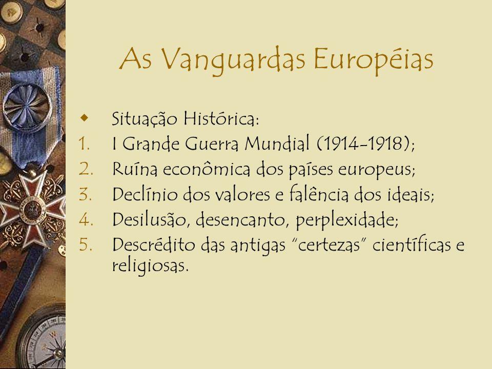As Vanguardas Européias Principais Características do Período: 1.Belle Époque; 2.Euforia burguesa pelo advento da Era da Máquina; 3.Culto ao progresso