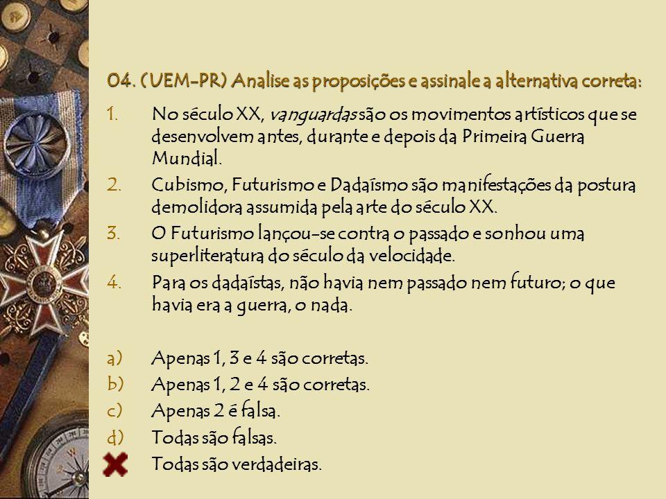 03. (UFPA) Em fevereiro de 1919, Marinetti publicou na Europa um manifesto cujas idéias desencadearam o: a)Dadaísmo b)Futurismo c)Surrealismo d)Romant