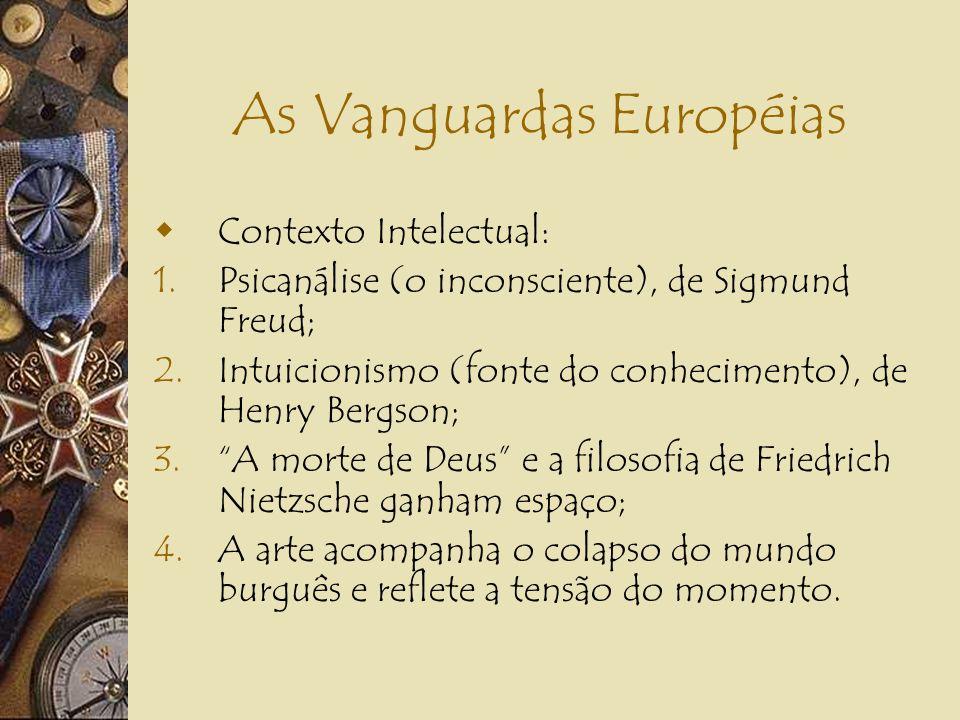 As Vanguardas Européias Situação Histórica: 1.I Grande Guerra Mundial (1914-1918); 2.Ruína econômica dos países europeus; 3.Declínio dos valores e fal