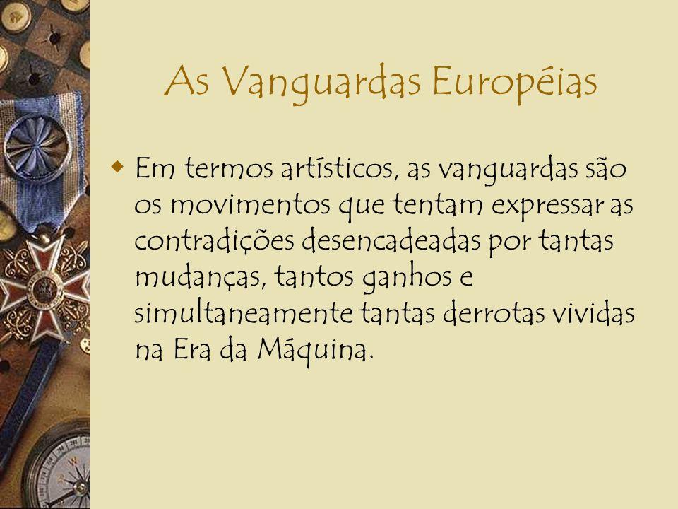 As Vanguardas Européias Contexto Intelectual: 1.Psicanálise (o inconsciente), de Sigmund Freud; 2.Intuicionismo (fonte do conhecimento), de Henry Berg