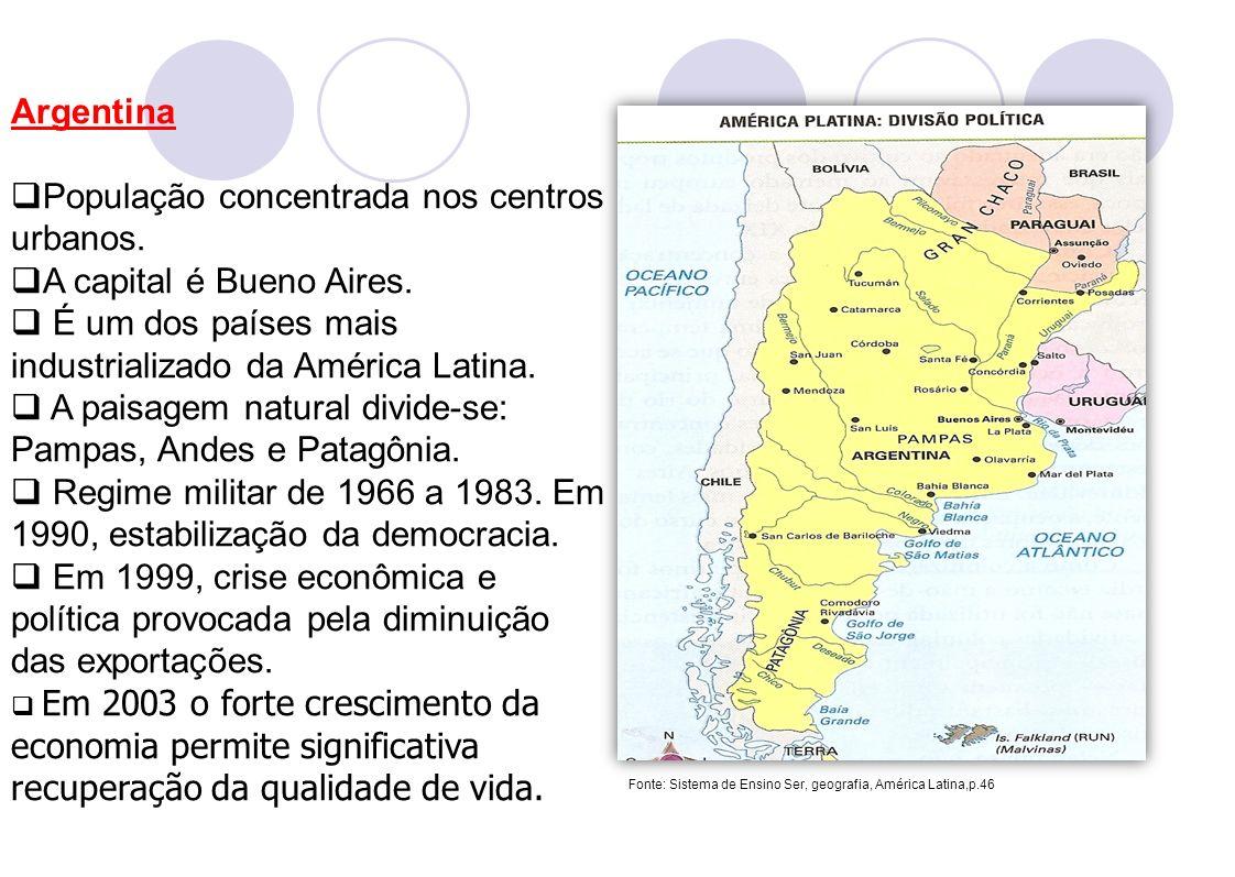Argentina População concentrada nos centros urbanos. A capital é Bueno Aires. É um dos países mais industrializado da América Latina. A paisagem natur