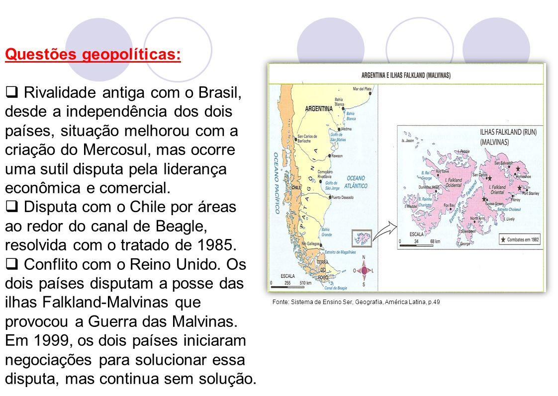 Questões geopolíticas: Rivalidade antiga com o Brasil, desde a independência dos dois países, situação melhorou com a criação do Mercosul, mas ocorre