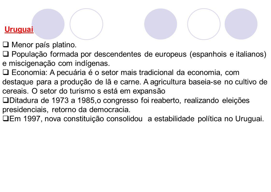 Uruguai Menor país platino. População formada por descendentes de europeus (espanhois e italianos) e miscigenação com indígenas. Economia: A pecuária