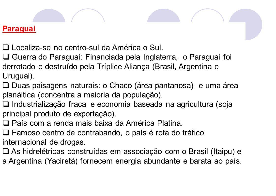 Paraguai Localiza-se no centro-sul da América o Sul. Guerra do Paraguai: Financiada pela Inglaterra, o Paraguai foi derrotado e destruído pela Tríplic