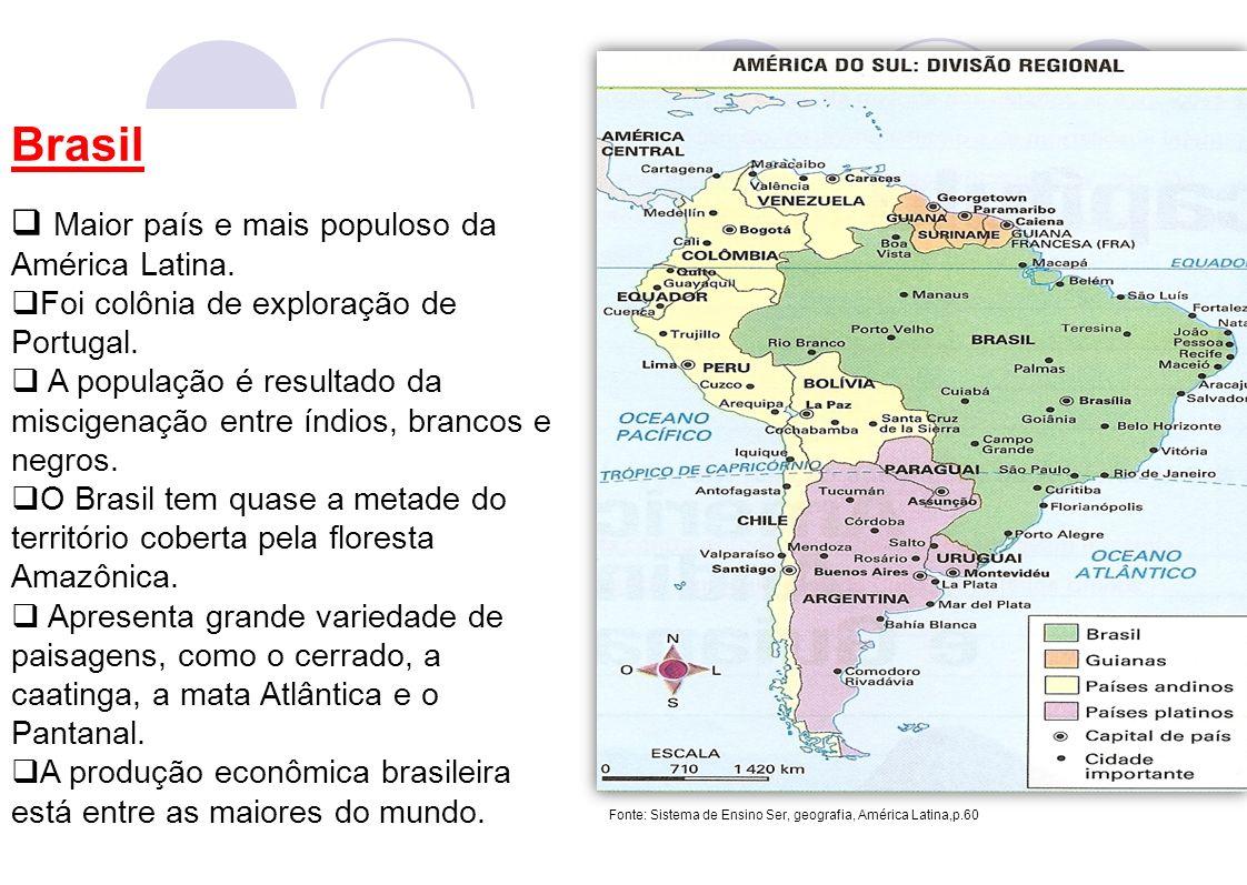 Brasil Maior país e mais populoso da América Latina. Foi colônia de exploração de Portugal. A população é resultado da miscigenação entre índios, bran