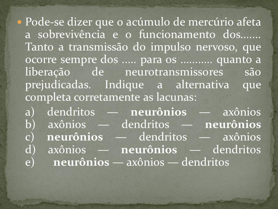 Pode-se dizer que o acúmulo de mercúrio afeta a sobrevivência e o funcionamento dos....... Tanto a transmissão do impulso nervoso, que ocorre sempre d