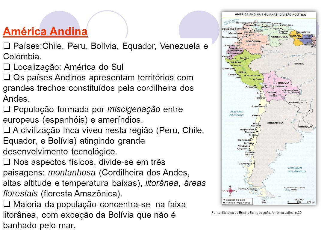 2 América Andina Países:Chile, Peru, Bolívia, Equador, Venezuela e Colômbia. Localização: América do Sul Os países Andinos apresentam territórios com