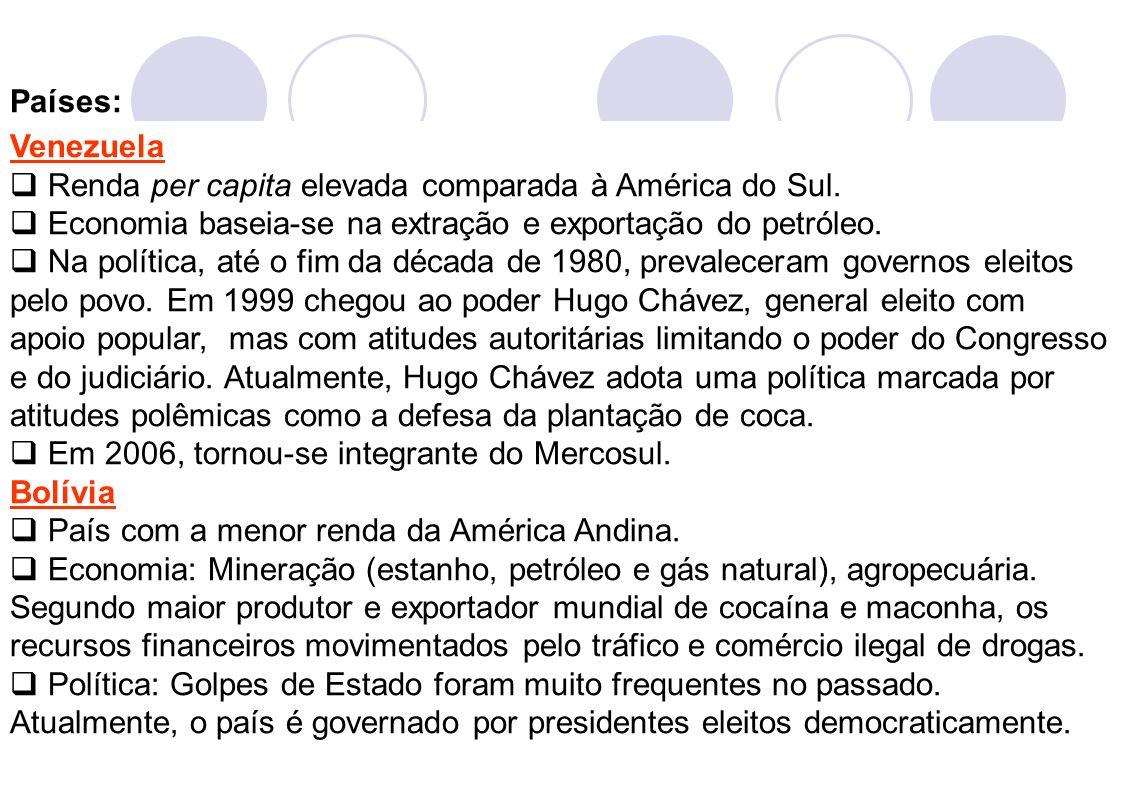 3 Venezuela Renda per capita elevada comparada à América do Sul. Economia baseia-se na extração e exportação do petróleo. Na política, até o fim da dé