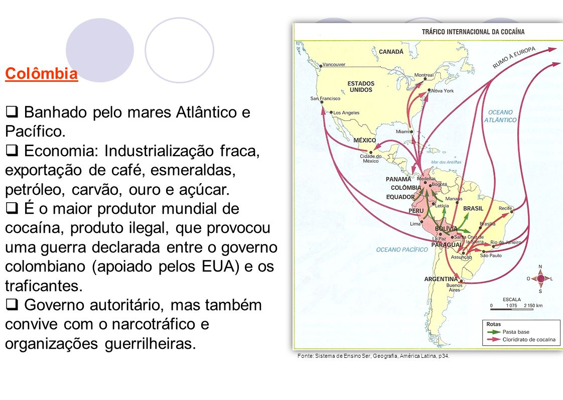 5 Colômbia Banhado pelo mares Atlântico e Pacífico. Economia: Industrialização fraca, exportação de café, esmeraldas, petróleo, carvão, ouro e açúcar.