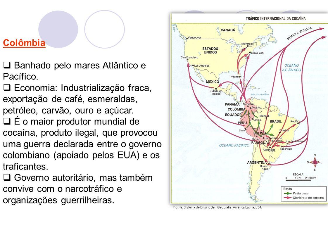 5 Colômbia Banhado pelo mares Atlântico e Pacífico.